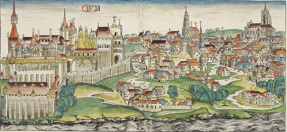 Вид на средневековый замок Буда из хроник Хартмана Шиделя