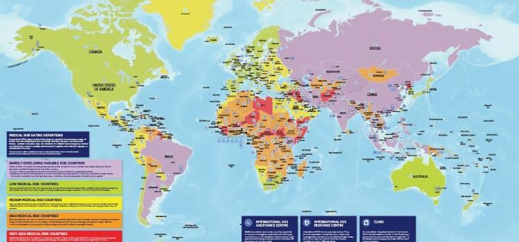 Составлена карта самых опасных стран для путешественников